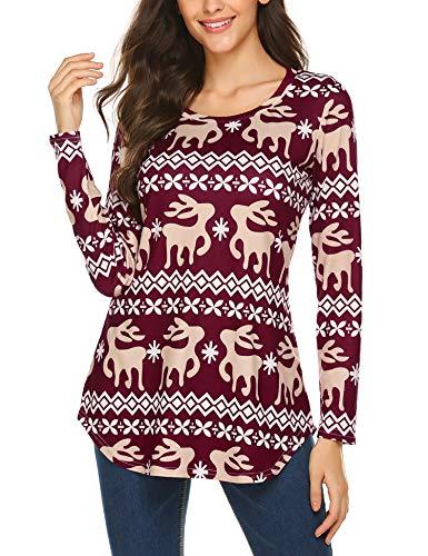 Parabler Damen Weihnachten Langarmshirt Weihnachtspullover Festliche T-Shirt mit Weihnachtlichem Rundhals Slim Fit Pullover Sweatshirt Bedrucktes Bluse Shirt Tunika Weihnachten Oberteil
