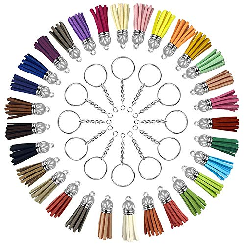 Fransande 180 llaveros con cadena y borlas colgantes a granel para llavero, manualidades, pendientes, pulseras, joyería, plata