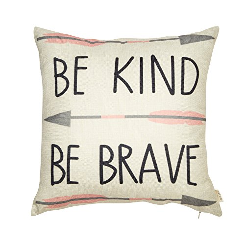 Fjfz Cotton Linen Home Decorative Quote Words Throw Pillow Case Cushion Cover for Sofa Couch Tribal Girl Nursery Art Decor, Be Kind Be Brave Decoration, 3 Arrows Pink and Grey, 18