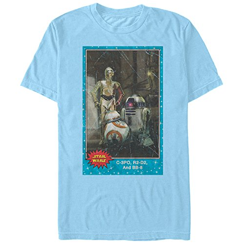 Men's Star Wars The Force Awakens C-3PO, R2-D2, and BB-8 Trading Card T-Shirt - Light Blue - X Large