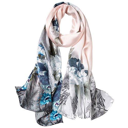 STORY OF SHANGHAI Seidenschal Damen 100% Seide, 20+ Bunte Luxuriöse Schals, Warm & Weich, als Stola Seidentuch Halstuch Pashmina - 53 * 170 cm Blumen 5