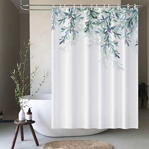 bluCOASTLINE Shower Curtain Set Bathroom Decoration Weeping Plant Botanical White Green Waterproof product image