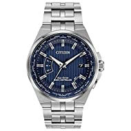 Comes with a 5 Year Citizen UK Warranty From the Citizen Eco-Drive Collection, the World Perpetual A-T watch brings a new confidence to an old style Crafted in stainless steel, this classic watch features a 42mm case The blue dial features a date win...