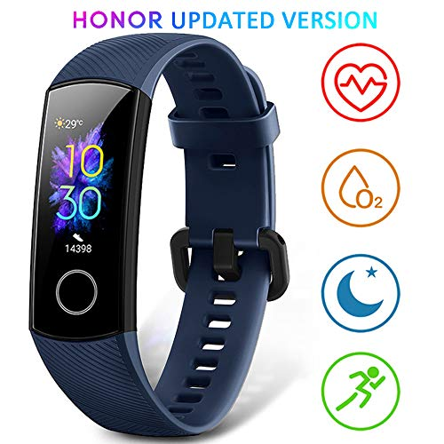 HONOR Band 5 Smart Wristband/Fitness Tracker with Heartrate Monitor, Blood Oxygen Sensor, Calorie Tracker, Sleep Tracking and Full Colour Touch Screen – Water Resistant up to 50m – Navy