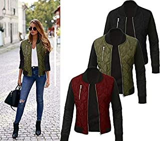ZCLAU The and Winter Women's Fashion Solid Color Quilted Jacket Zipper Jacket Women (Color : Green, Size : 3XL)