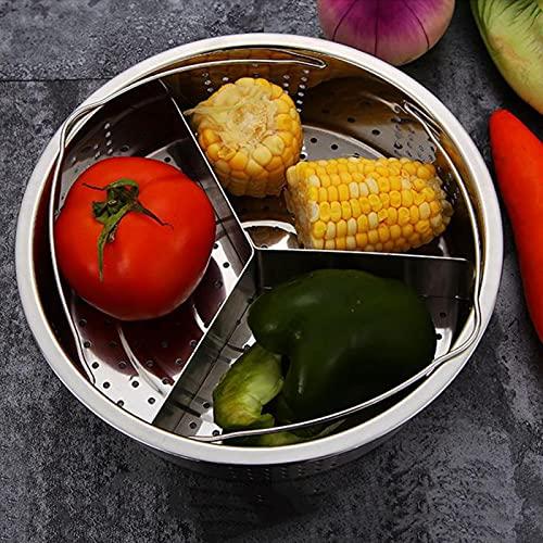 GeKLok Steamer Rack Set, Stainless Steel Trio Separator Set Steamer Basket Rack Durable Cooker Accessories Fast Steaming Grid Basket Divider for Vegetables Cooking (Sliver)