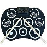 Tamaño Compacto USB Roll-Up Silicon Drum Set Kit de Batería Electrónica Digital 9 Drum Pads con Pedales para Pincipiantes Niños - blanco