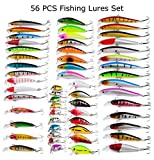 Juemenzhe 56pcs Fishing Lures Kit Mixed Including Minnow CrankBait Hooks Saltwater Freshwater Trout Bass Salmon Fishing