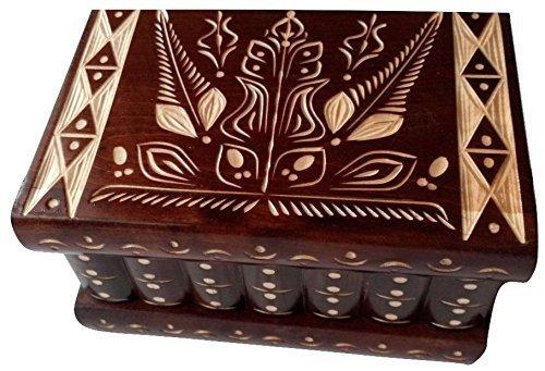 Caja puzzle nuevo grande marrón caja de joyas talladas caja mágica misterio caja de madera rompecabezas caja secreta trinket complicado cajón de madera caja escondida