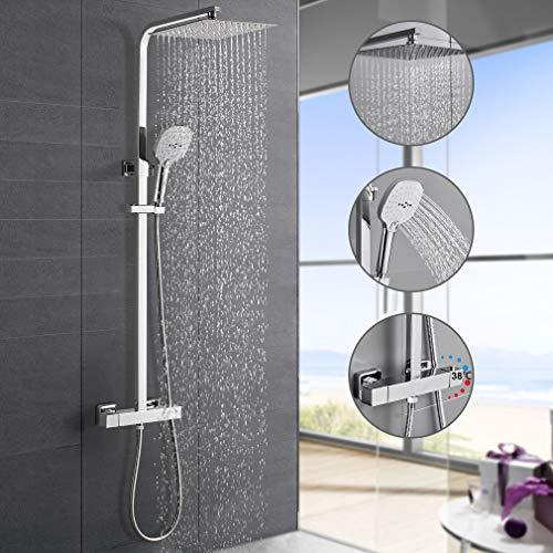Hochwertiges Duschsystem mit Thermostat, WOOHSE Regendusche Duscharmatur Duschkopf aus Edelstahl, Duschset Handbrause mit 3 Funktionen, Dusche Set Verstellbare Duschstange(82-123 CM) für Badzimmer