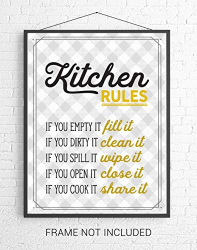Retro Kitchen Rules Wall Art - Mustard Yellow/Gold, Gray, White - 8x10 UNFRAMED Funny Kitchen Print Perfect for Modern Farmhouse, Rustic, Vintage, Cottage, Country Decor.