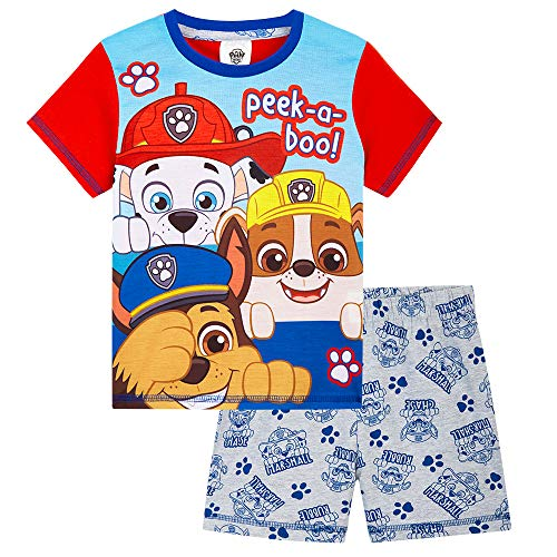 Paw Patrol Pyjama Enfant Garçon De La Pat Patrouille - Pyjashort Coton avec Chase, Marcus Et Ruben, Vetement Enfant Garcon 18 Mois - 6 Ans (Multi, 5-6 Ans)