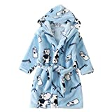 Toddler Kids Flannel House-Hold Warm Night-Robe Adorable Hoody Drawstring Winter Long-Sleeved Shower-Robe for Spring Autumn and Winter Blue 3T