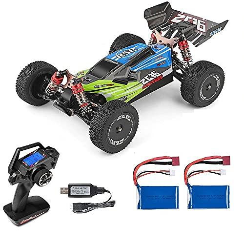 MODELTRONIC Coche RC Profesional Buggy Wltoys XKS 144001 tracción 4X4 Emisora LCD Escala 1:14 Alta Velocidad de 60km/h con Motor 550 con BATERÍA Extra (Verde)