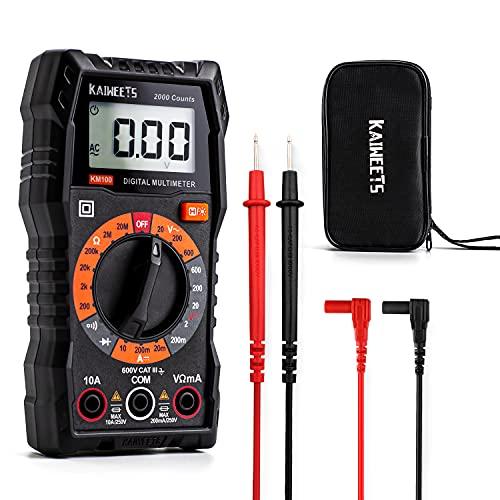KAIWEETS Digital Multimeter KM100, CAT III 600 V Voltmeter für AC/DC Spannung, DC Strom, Durchgang, Widerstand, Diode (mit Schutztasche und Messleitungen)