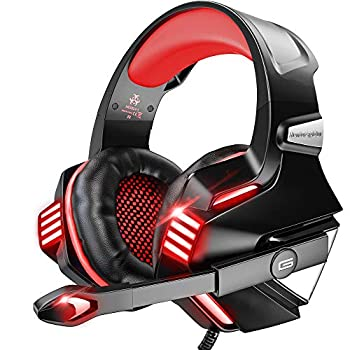 VersionTECH Gaming Headset for PS5/ PS4/ Xbox One/PC Noise Canceling Over-Ear Headphones with Mic LED Lights & Volume Console for Xbox 1 S/X Playstation 5/4/Slim/Pro Switch Computer -Red