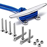 ZOMCHAIN Boat Cleat Open Base Boat Cleat, Dock Cleat All 316 Stainless Steel Boat Mooring Accessories, Free Installation Accessories Screws (8 inch-1PCS)