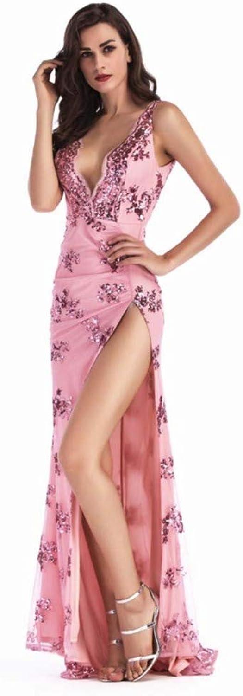 SPFAZJ 2019 Europa und die Vereinigten Staaten New Sequined Strap Sexy Rückenfreies Kleid Tiefer V-Ausschnitt Split Wopping Dress
