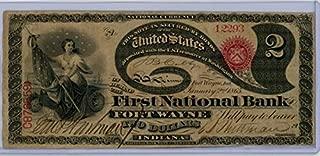 1865 Fort Wayne Indiana United States of America Hand Signed Original Note