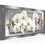 Pintura Mural Flores Orquídea 1 parte Moderno Cuadro Lienzo no Tejido Sala Corredor Abstracto Gris Beige 205412b