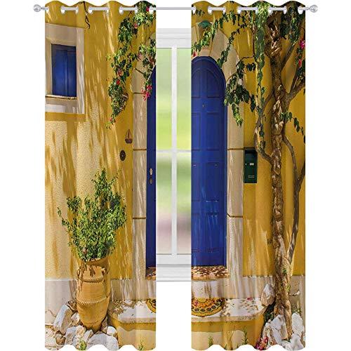 cortinas de dormitorio, tradicional griega casa puerta con flores y árbol mediterráneo paisaje, W52 x L72 Cortinas para el cuarto de bebé, multicolor