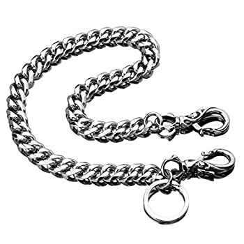 Skeleton Punk Wallet Chain,Wallet Long Purse Key Chain with Chain for Biker Trucker Motorcycle Pants Jean,100% Stainless Steel Never Rust,Never Fade Cuban Chain