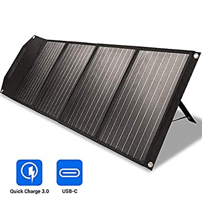 ROCKPALS 100w Foldable Solar Panel Charger with Kickstand, Parallel Cable, QC 3.0 and USB-C, Upgraded Portable Solar Panel for Jackery Goal Zero Yeti Power Station