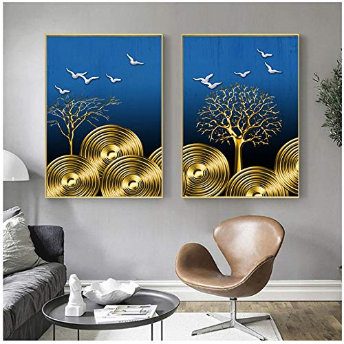 Moderne canvas schilderij moderne abstracte plant geldboom vogel poster prints woonkamer slaapkamer decoratie thuis wanddecoratie 40x60cmx3 (frameloze)
