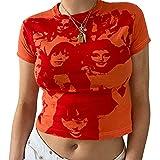 Estate Y2K Crop Top Sexy Estetica Donne Stampa Grafica Camicia Manica Corta 90s E Ragazze Streetwear Partito Canotte Arancione e rosso S
