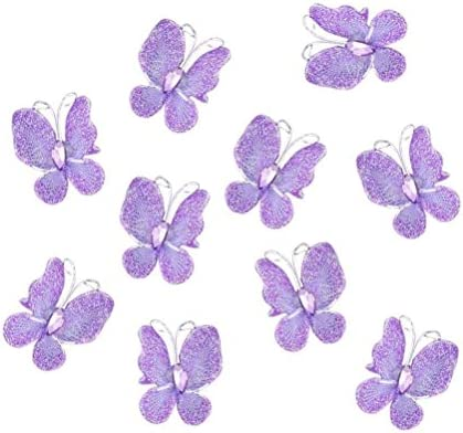PIXNOR 50pcs Butterflies Set Wire Glitter Butterfly for Home and Wedding Decoration Purple product image