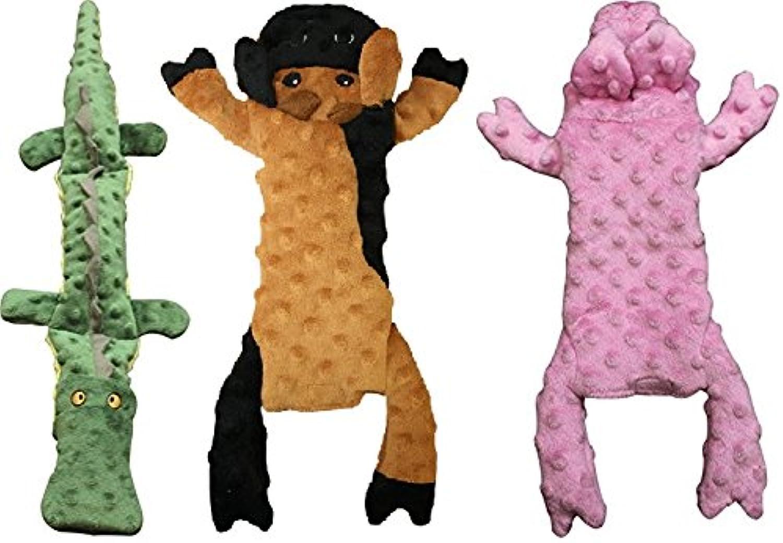 Ethical Pets Skinneeez Extreme Stuffing Free Crocodile, Cow, and Pig Dog Toys (Bundle)