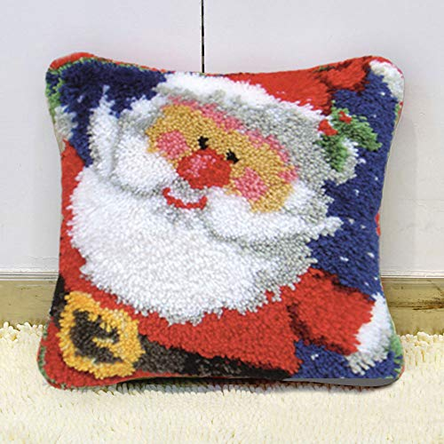 Latch Hook Kits DIY Throw Pillow Cover with Pre-Printed Santa Pattern for Kids Adults and Beginners 17' X 17'