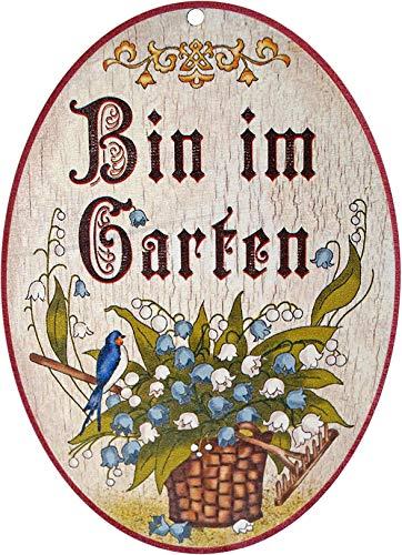Kaltner Präsente Geschenkidee - Holz Geschenkartikel Deko Türschild im Antik Design Dekoartikel Motiv Bin IM Garten (Ø 18 cm)
