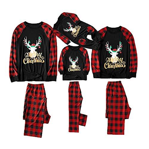 Holeider Weihnachten Pyjama Familie Schlafanzug Mutter Vater Kind Schlafanzüge Elch drucken Tops + Hosen Gitter Nachtwäsche Homewear Outfit für Kinder, Jungen, Mädchen, Erwachsene Eltern