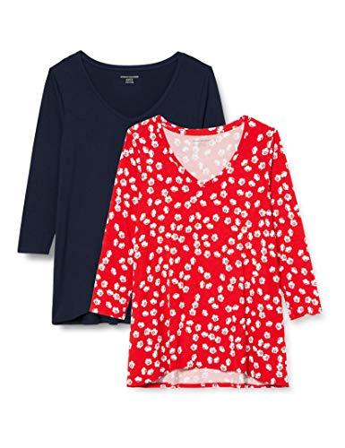 Amazon Essentials 2-Pack 3/4 Sleeve V-Neck Swing tee Camiseta, Amapola roja/Azul Marino, XS