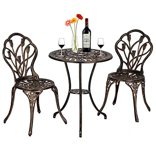 Laulry 3-Piece Patio Bistro Dining Set - Antique Copper Bronze Table and Chairs - Outdoor Furniture Tulip Design - Rust-Resistant - for Porch Backyard Garden (from US, Bronze)