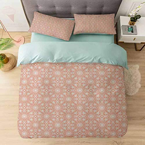 Aishare Store 100% Washed Microfiber 3pcs Bedding Set, Artistic Flourish Embroidery Pattern Motifs Classical Fashionable, Soft and Breathable with Zipper Closure & Corner Ties, Coral White