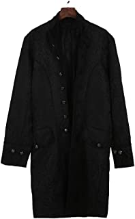 Funnygals - Men's Vintage Tailcoat Jacket Gothic Steampunk Formal Victorian Frock Long Coat Uniform Costume Tuxedo