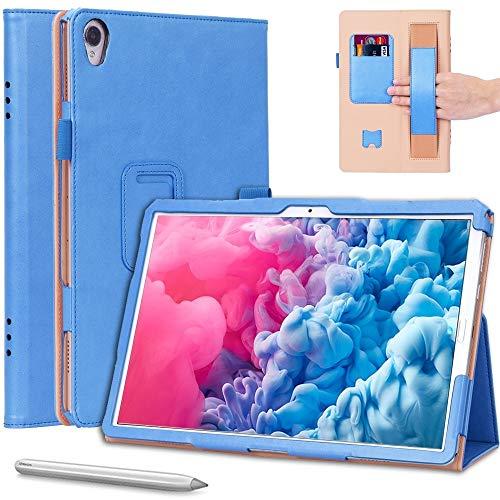 XHEVAT Funda de piel para tablet Huawei MatePad 10.8 (2020), diseño retro, con textura horizontal, con soporte, ranuras para tarjetas y correa de mano, color azul