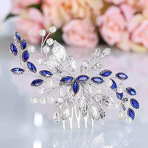 Mayelia Kristall Braut Hochzeit Haarkamm Silber Perle Braut Haarschmuck Blatt Haarteil für Frauen und Mädchen