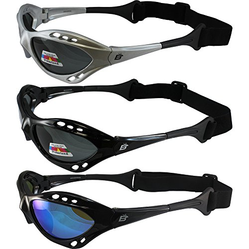 Three Pair Birdz Seahawk Polarized Sunglasses Floating Jet Ski Goggles Sport Kite-Boarding, Surfing, Kayaking, Two Smoke, One Blue Mirror Lens, Black/Silver, ADULT