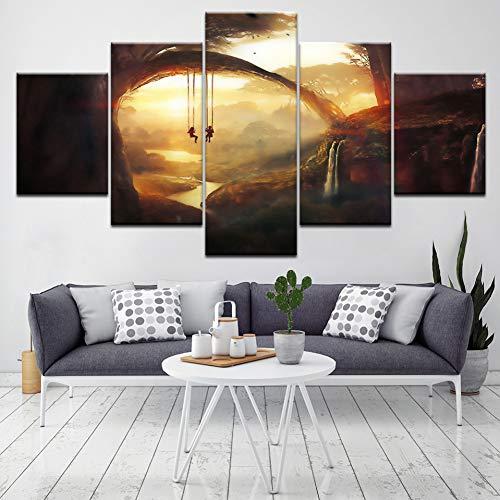 FYQUANFO woonkamer afbeelding wooncultuur kinderen poster 5 panelen zonsondergang schommel muur HD print schilderij