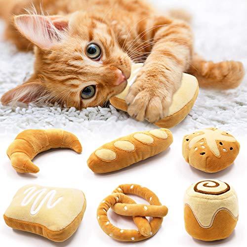 Rhdekoein Spielzeug mit Katzenminze 6 Stück Katzenminzespielzeug Sushi Brot für Katzen