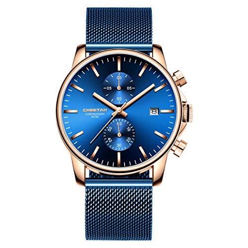 Herrenuhren Mode Sport Quarz Analog Blue Mesh Edelstahl wasserdichte Chronograph Armbanduhr, Auto Date