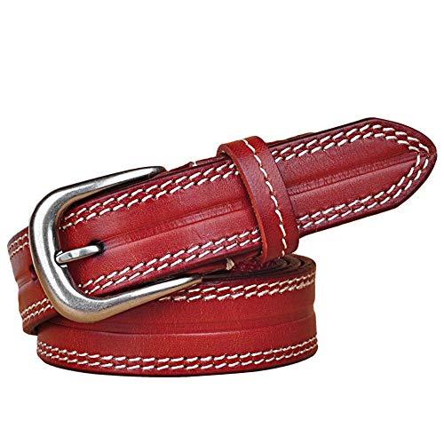 NeoMcc Cinturón de Ms Ladies Retro Cuero Skinny Cinturón Plata Plata Puerta Puerta Puerta Hebilla Cinturón Costura Ribete (Color : Red, Size : 115)