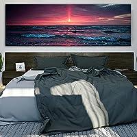絵画は50x150cmのフレームレスの美しい夕日の海景絵画のポスターを印刷し、壁の芸術の写真を印刷しますCuadros寝室の家の装飾