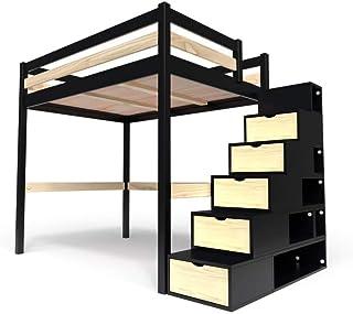 ABC MEUBLES - Lit Mezzanine Sylvia avec escalier Cube Bois - Cube - Noir/Vernis Naturel, 140x200