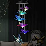 Klmnduo Wind Chimes, Solar Lights Chimes Waterproof Led Solar Lights Butterfly Wind Chimes Mobile Automatic 7 Color Changing Gifts for Family and Friends, Patio Home Party Night Garden Decoration