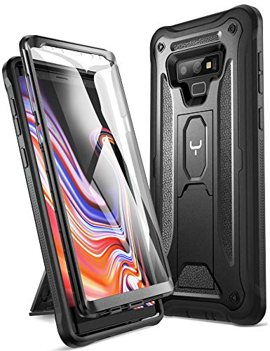 YOUMAKER Kickstand Case for Galaxy Note 9, Full Body with Built-in Screen Protector Heavy Duty Protection Shockproof Rugged Cover for Samsung Galaxy Note 9 (2018) 6.4 Inch - Black
