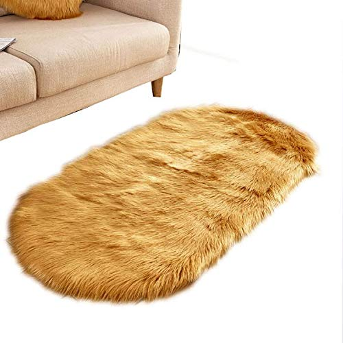 DXLPD Teppich Pelzig Oval GemÜTliches Bettvorleger Sofa Matte Wohnzimmer Schlafzimmer Kinderzimmer | Als Faux Bett-Vorleger Oder Matte FÜR Stuhl Sofa,Style 8,60 * 150cm